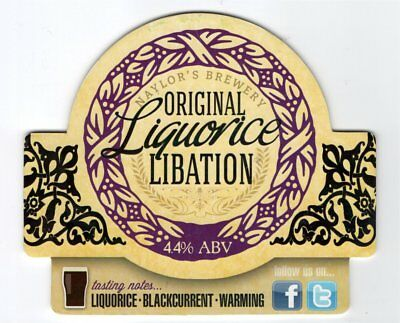 Beer pump clip front. Naylor's Brewery, ORIGINAL LIQUORICE LIBATION