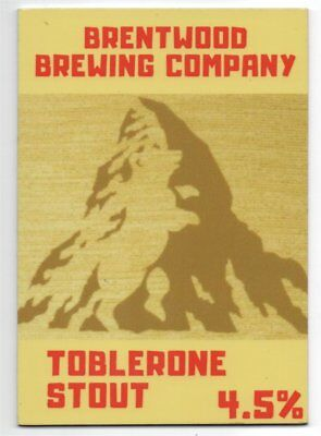 Beer pump clip front. Brentwood Brewing Co, TOBLERONE STOUT,