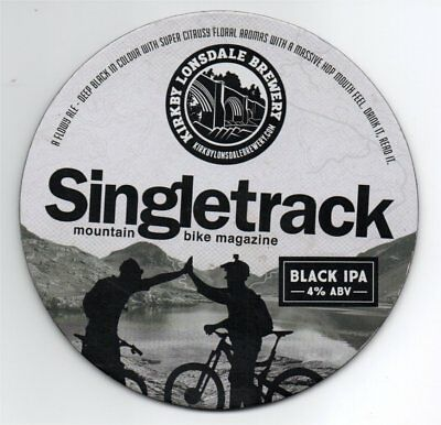Beer pump clip front. Kirkby Lonsdale Brewery, SINGLETRACK, Black IPA