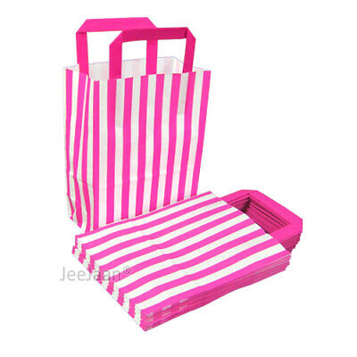 Pink Candy Stripe SOS Paper Bags with Handle Gift Shop Celebration Party Pack