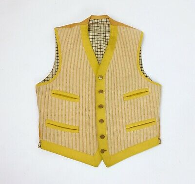 Vintage Edwardian Mens Vest Hunting Shooting Outdoor Wool British Antique Yellow