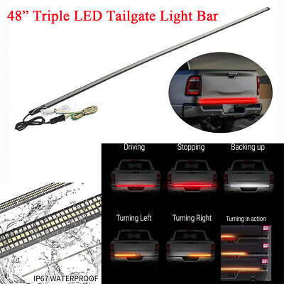 "Pickup 48"" Tri-row 3 Color LED Tailgate Light Bar Turn Signal Brake Reverse Lamp"