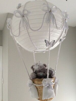 Hot air balloon nursery light shade, white and silver