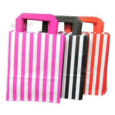 Candy Stripe SOS Paper Bags with Handle Gift Shop Party Pack Black/ Pink/ Red