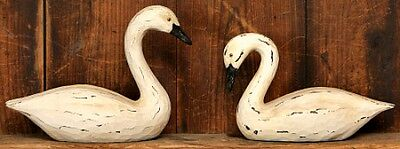 New Primitive Country Rustic Set 2 Goose Bent Neck Resin Swan Geese Figurine