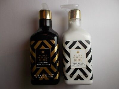 Bath and Body Works Hand Soap & Hand Lotion with Olive Oil - Black Pepper & Pine