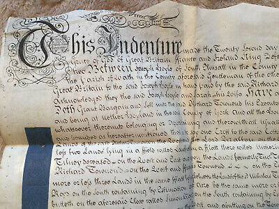 1742 Indenture Lease of Property/Lands in Hoyland - Hoyle, Townsend