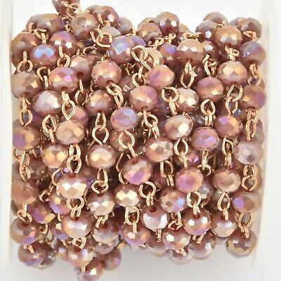 1 yard 6mm Crystal Rosary Chain, gold wire, rondelle beads, PLUM AB fch1074a