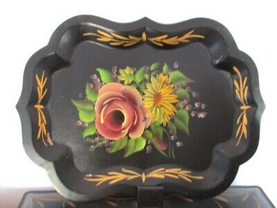 Vintage Hand Painted Yellow Mums & Pink Roses Dresser Perfume Jewelry Tole Tray