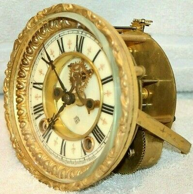 Antique Ansonia Time & Strike Clock Movement W/ Open Escapement. Tested Well!!
