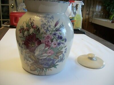 Home and Garden Party Floral Stoneware Pottery Canister  JULY 2000