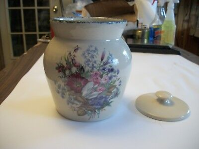 Home and Garden Party Floral Stoneware Pottery Canister  MAY  2000