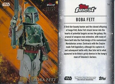 Star Wars Finest 2018 Refractor Base Card #14 Boba Fett