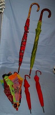 VTG Lot 5 Umbrella Plaid/India/Natural/Bamboo/Leather Colorful WORKING!