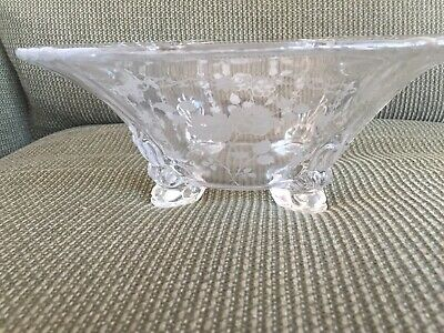 Large Fostoria Footed Clear Glass Bowl Etched Midnight Rose Pattern Vintage