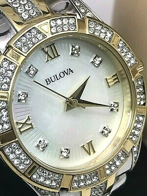 Bulova 98L135 Two Tone Crystal Accent MOP Dial Women's Watch FOR REPAIR PARTS