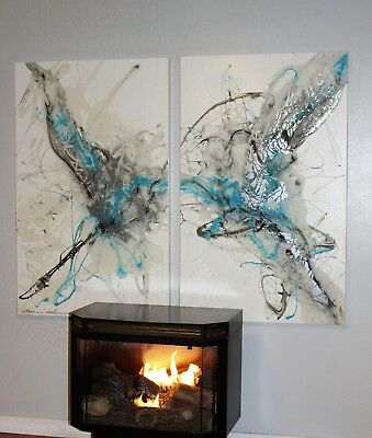 Extra Large Original Modern Abstract White Blue Fine Art Oil Painting Tara Baden