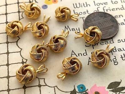 Vintage 9mm Textured Gold Tone Metal Knot Charms Pendants 10