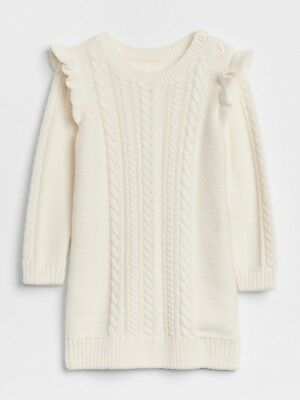 aec8941a133 NWT - Girls Baby Gap Cream Cable Knit Sweater Dress - Size 12-18 Months