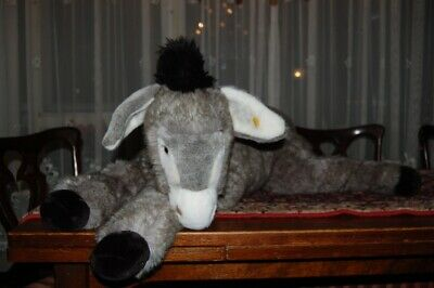 """Steiff Molly Donkey Lying 39"""" 100 Cm JUMBO 103391 Button/Tag VERY HARD TO FIND"""