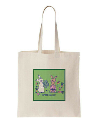 Easter Egg Bunny Hunt 100%cotton Cute Animals Eco Tote Shopping Bag 150Gsm 5Oz