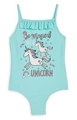 Girls Unicorn Mint Swimsuit Swimming Costume Ages 4-8 Years Old