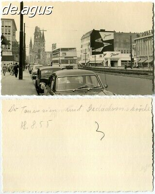 Vintage Photo from 1955 Berlin - Church, double decker bus, classic cars