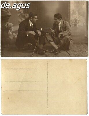 Vintage Postcard Photo circa 1930s handsome young Men in suits talking