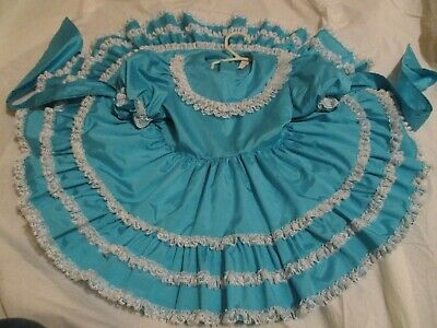 Vintage Toddler Girls Aqua Blue Lace RuffleTwirl Full Circle Easter Party Dress