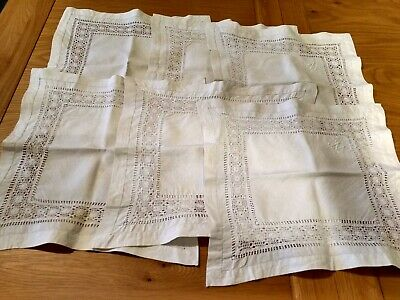 """Set of 6 white drawn thread work vintage table napkins marked with a """"W""""."""