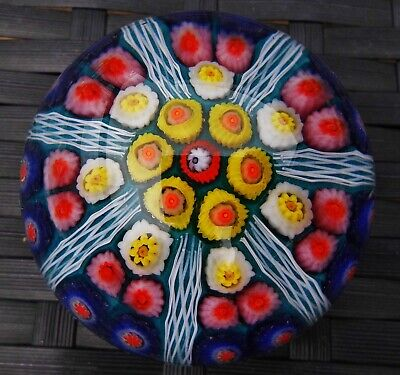 Strathearn Cartwheel Latticinio Millefiori Canes Paperweight Beautiful!