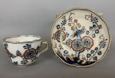 Antique Meissen Cobalt Blue and Gold Cup and Saucer Chinoiserie Rock and Bird