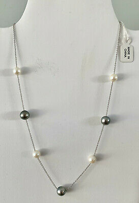 """14K White Gold Cultured Tahitian and Akoya Pearl 17"""" Necklace"""