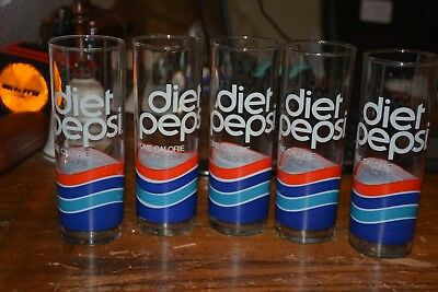 Vintage Lot Of 5 Diet Pepsi Tall Glasses Great Color