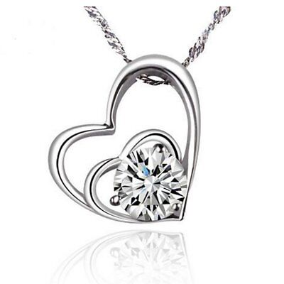 Fashion Womens Silver 18K CZ Zircon Crystal Pendant Necklace Wedding Jewellery