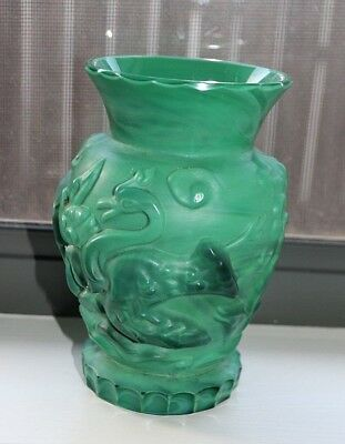 Schlevogt Art Deco Capricorn Malachite Glass Large Vase