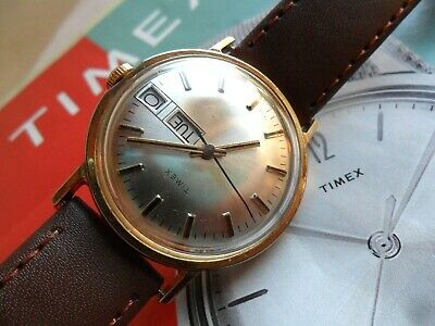 Very Clean Vintage 1980 Men's Timex Mechanical Day Date Gold Tone Watch Runs