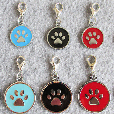 100pcs/lot Zinc Alloy Circle Shaped Blank Pet Cat Dog ID Tags with Paw on Face