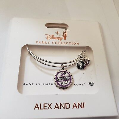 NEW Disney Parks ALEX AND ANI Up Grape Soda Bottle Cap Silver Bangle Bracelet