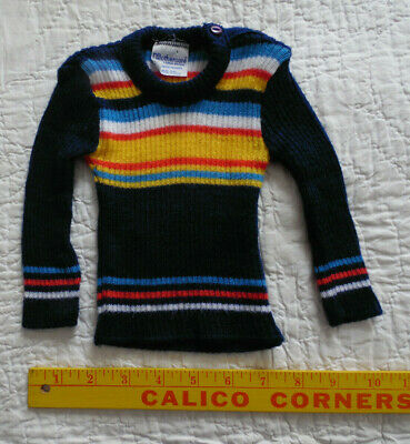 Vintage Infant Baby Mothercare Sweater Rainbow Pride Clingy Ribbed Acrylic