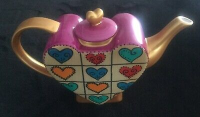 Novelty Teapot in gold pink and heart logos