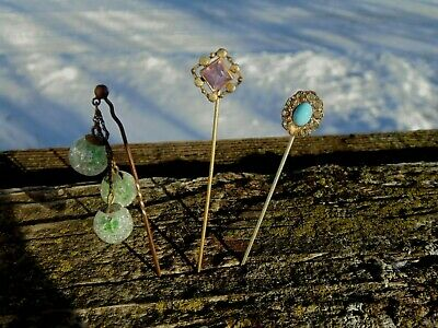 Lot of 3 Vintage Antique Stick Pins Dangling Glass Ball Etc