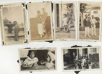 Lot of 6 photos African-American men women kids 1930s to 1940s black doll