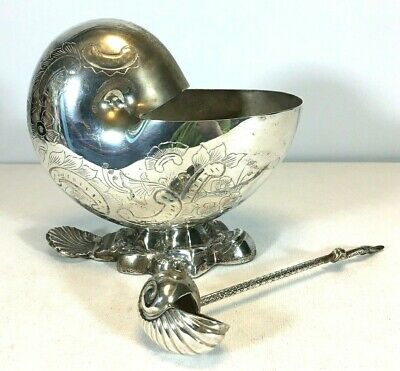 International Silverplate Spoon Warmer Sugar Salt Bowl Fish Shell Nautilus