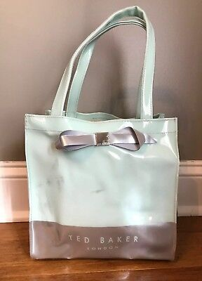041b78848 TED BAKER BLUE Silver Bow Detail Small Icon Tote Bag Shopper ...