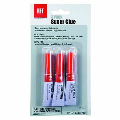 Super Glue 3 PACK by HFT - Bonds rubber metal glass plastic ceramic wood
