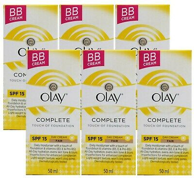6 X OLAY 50mL COMPLETE TOUCH OF FOUNDATION BB CREAM SPF 15 FAIR