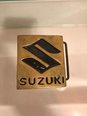 Suzuki Solid Brass Logo Motorcycle Collectible 1970s Vintage Belt Buckle