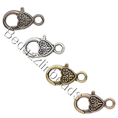 Set of 2 Big Heart Shaped Lever Lobster Claw Clasps Plated Pewter Base Metal