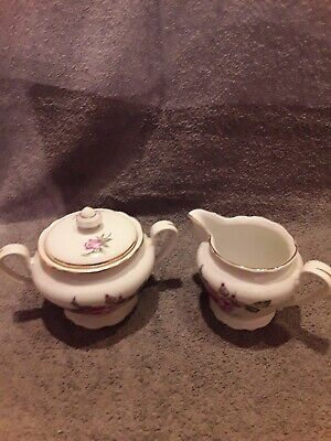 Fine Bohemian China Sugar And Creamer Dishes Czechoslovakia Roses